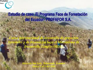 Estudio de caso: El Programa Face de Forestación  del Ecuador- PROFAFOR S.A.