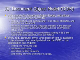 JS: Document Object Model (DOM)