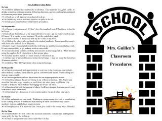 Mrs. Guillen's Classroom Procedures