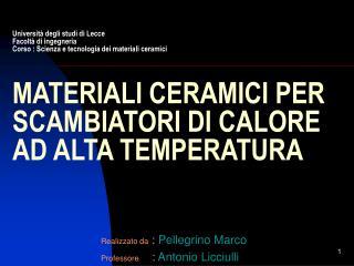 Realizzato da  :  Pellegrino Marco Professore :  Antonio Licciulli