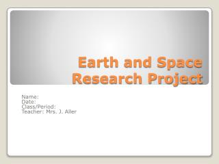 Earth and Space Research Project