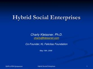 Hybrid Social Enterprises