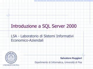 Introduzione a SQL Server 2000