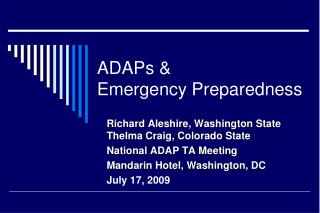 ADAPs & Emergency Preparedness