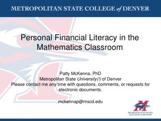 Personal Financial Literacy in the Mathematics Classroom