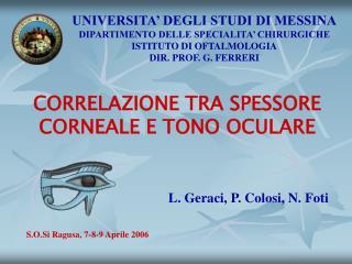 CORRELAZIONE TRA SPESSORE CORNEALE E TONO OCULARE