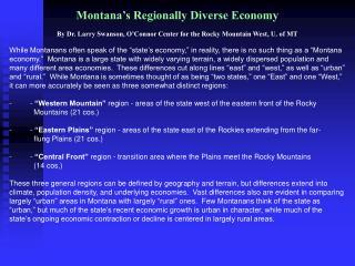 Montana's Regionally Diverse Economy