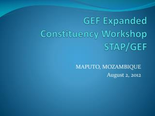 GEF Expanded  Constituency Workshop STAP/GEF