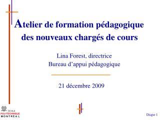 Lina Forest, directrice Bureau d'appui pédagogique
