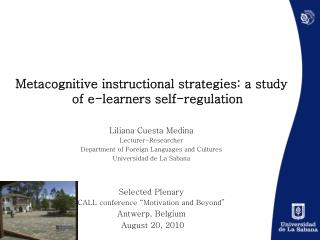 Metacognitive instructional strategies: a study of e-learners self-regulation