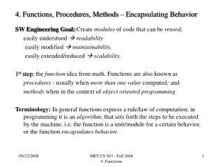 4. Functions, Procedures, Methods – Encapsulating Behavior