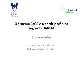 O sistema CaGE e a participação no  segundo HAREM
