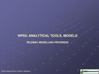 WP03: ANALYTICAL TOOLS, MODELS