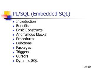 PL/SQL (Embedded SQL)