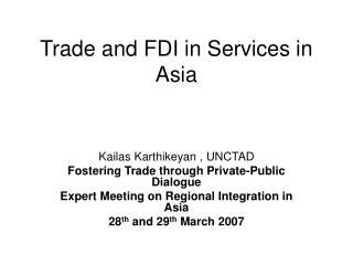 Trade and FDI in Services in Asia