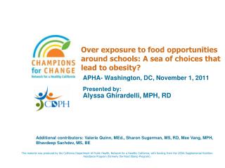 APHA- Washington, DC, November 1, 2011