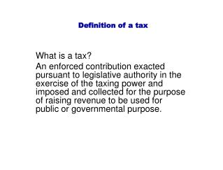 Definition of a tax