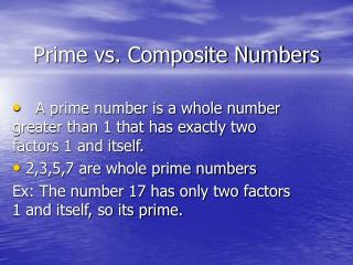 Prime vs. Composite Numbers
