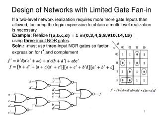 Design of Networks with Limited Gate Fan-in