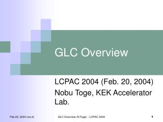GLC Overview