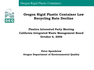 Oregon Rigid Plastic Container Law Recycling Rate Decline