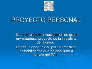 PROYECTO PERSONAL