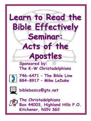 Learn to Read the Bible Effectively Seminar: Acts of the Apostles