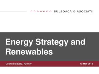 Energy Strategy and Renewables