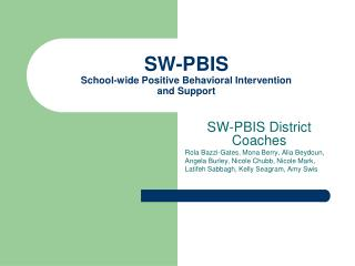 SW-PBIS School-wide Positive Behavioral Intervention  and Support