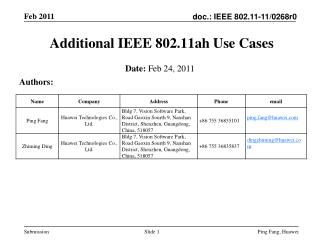Additional IEEE 802.11ah Use Cases