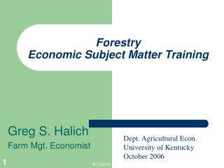 Forestry  Economic Subject Matter Training