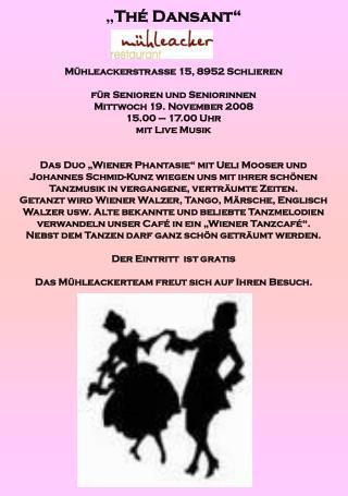 """"""" Thé Dansant"""" Mühleackerstrasse 15, 8952 Schlieren für Senioren und Seniorinnen"""