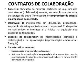 CONTRATOS DE COLABORAÇÃO