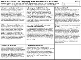 Year 9 Homework: Can Geography make a difference to our world? 1