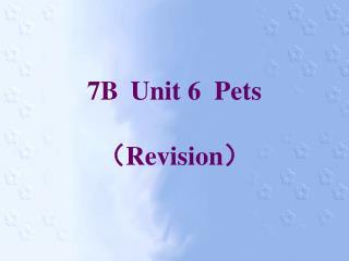 7B Unit 6  Pets ( Revision )