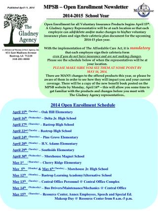 MPSB – Open Enrollment Newsletter 2014-2015  School Year