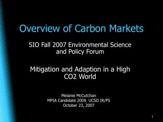 Overview of Carbon Markets