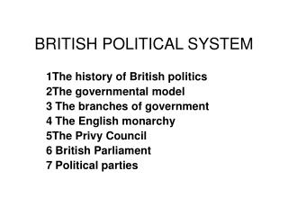 BRITISH POLITICAL SYSTEM