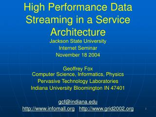 High Performance Data Streaming in a Service Architecture