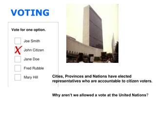 Cities, Provinces and Nations have elected  representatives who are accountable to citizen voters.
