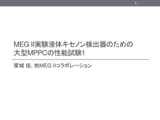 MEG II 実験液体キセノン検出器のため の 大型 MPPC の性能試験 1