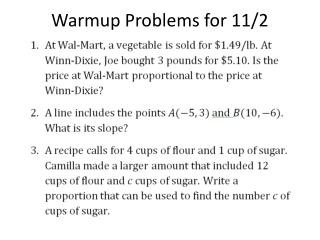 Warmup Problems for 11/2