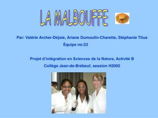 Par: Valérie Archer-Déjoie, Ariane Dumoulin-Charette, Stéphanie Titus Équipe no:23