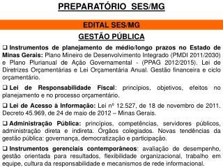 PREPARATÓRIO  SES/MG