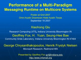 Performance of a Multi-Paradigm  Messaging Runtime on Multicore Systems