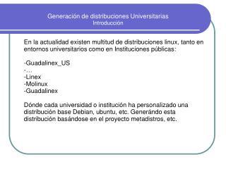 Generación de distribuciones Universitarias Introducción