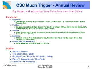 CSC Muon Trigger - Annual Review