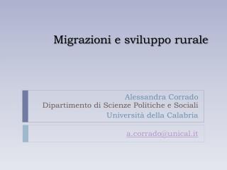 Migrazioni  e  sviluppo rurale