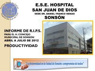 INFORME DE R.I.P.S. PARA EL H. CONCEJO MUNICIPAL DE SONSÓN