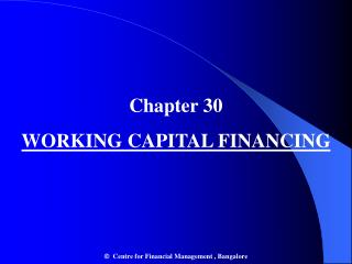 Chapter 30 WORKING CAPITAL FINANCING